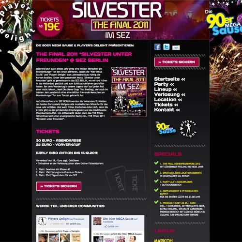 Silvester im SEZ Berlin Webseite