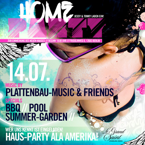 Flyer Hausparty Amerika Home Party Berlin