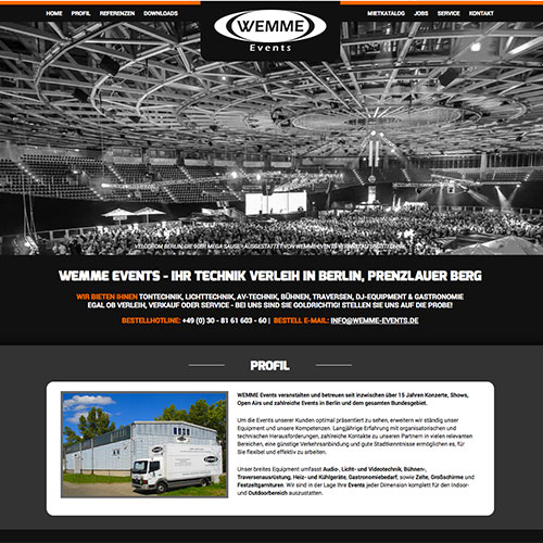 Wemme-Events Design Webseite