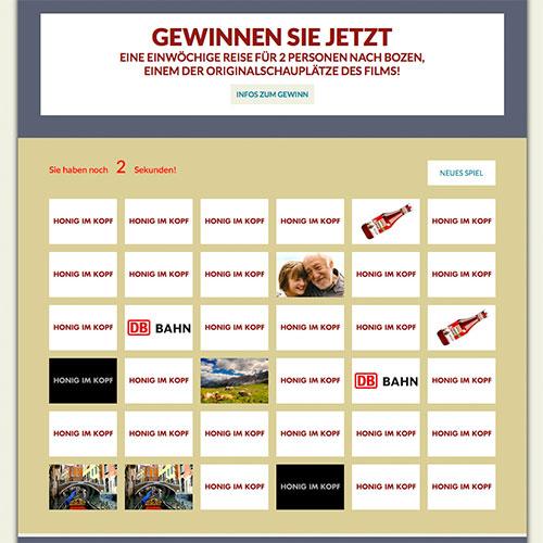 Gewinnspiel Webseite für Werder und Honig im Kop mit Memory-Spiel